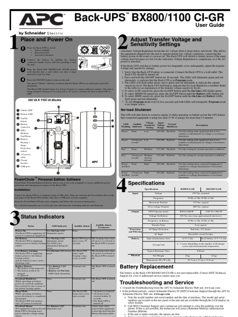 APC UPS BackUp 850/1100 - DocShare tips