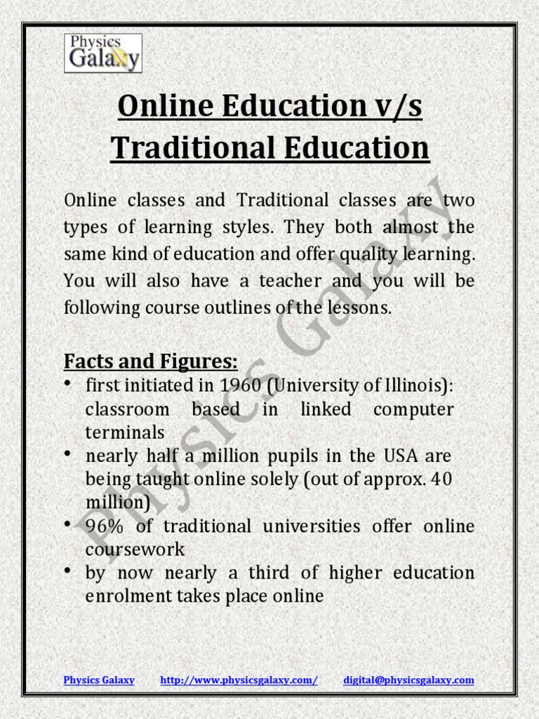 online education and traditional education essay Traditional education versus online education - with a free essay review - free essay reviews.