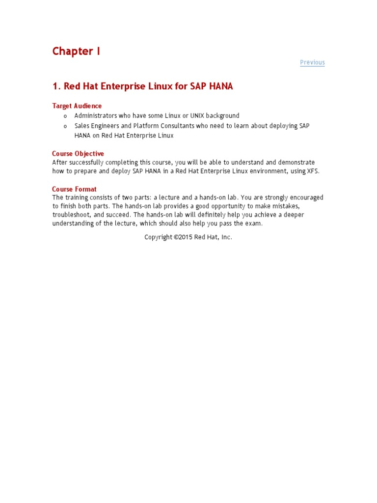 Redhat for SAP HANA - DocShare tips