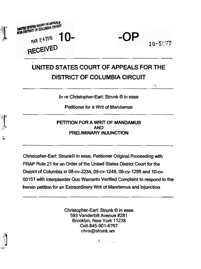 Download Strunk V Obamany Petition For Writ Of Mandamus W Dc Circuit Strunks Census Exhibits And Endnotes Dcc 10 5077 Op