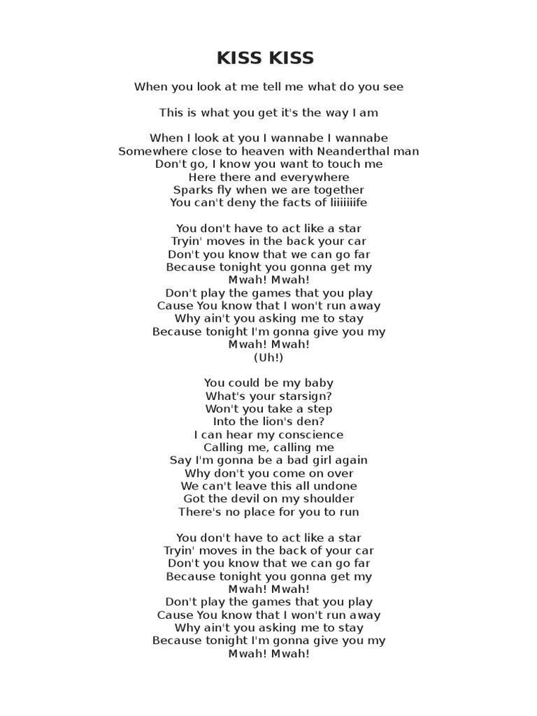 Kiss kiss Lyrics Tarkan - DocShare tips