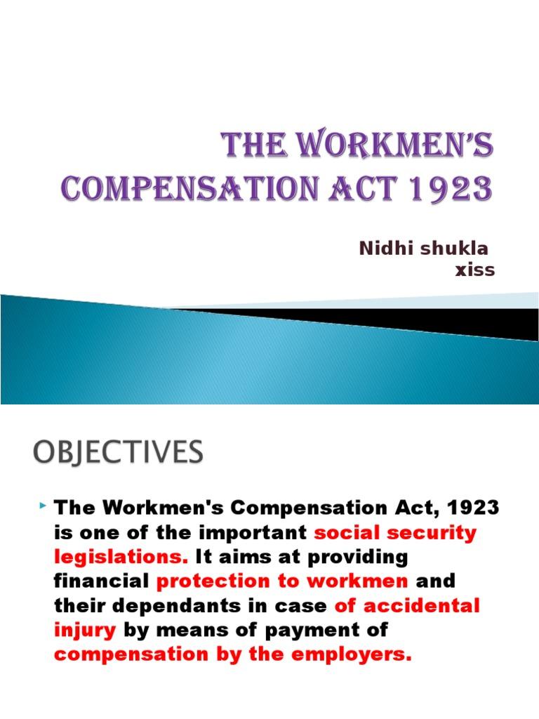 workmen under workmen compensation act 1923