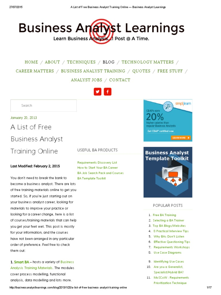 A List Of Free Business Analyst Training Online Business Analyst
