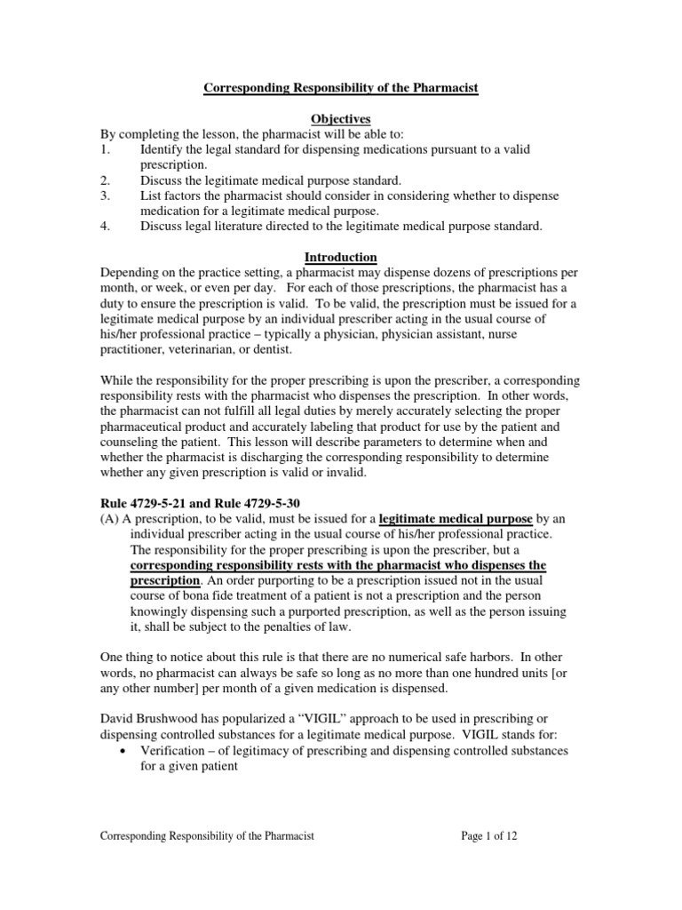 Corresponding Responsibility of the Pharmacist DocSharetips – Responsibility of a Pharmacist