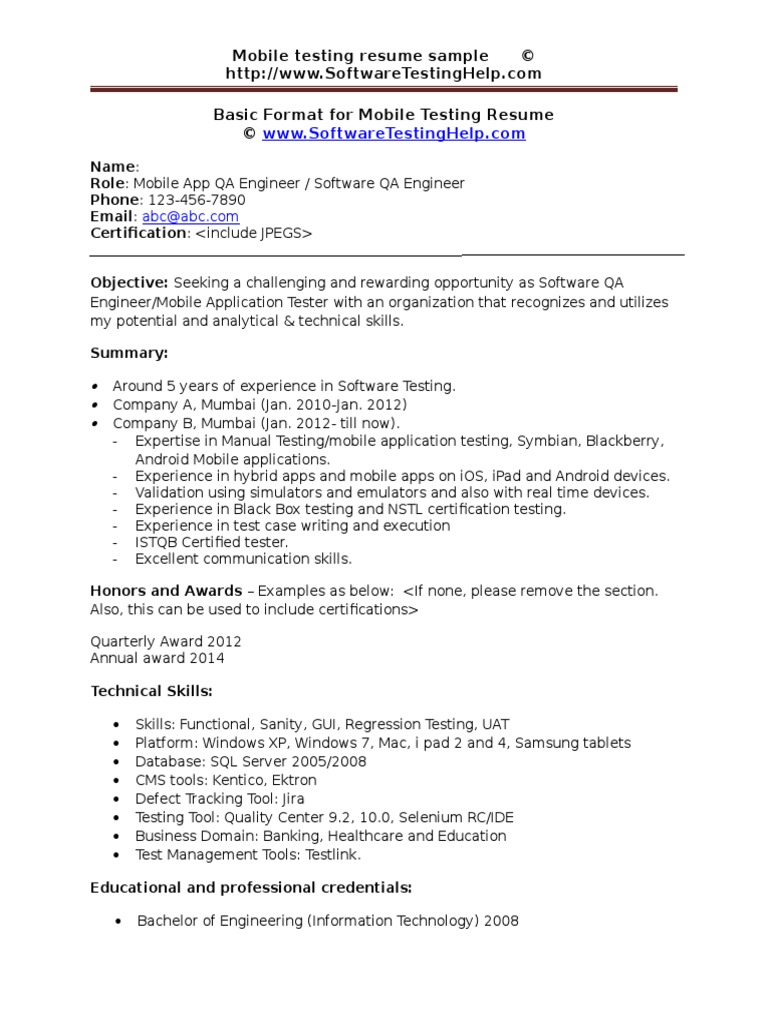Mobile Testing Resume Sample Document Docshare