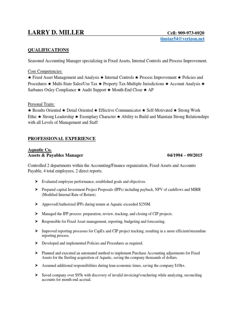 Accounting Finance Manager in Los Angeles CA Resume Larry