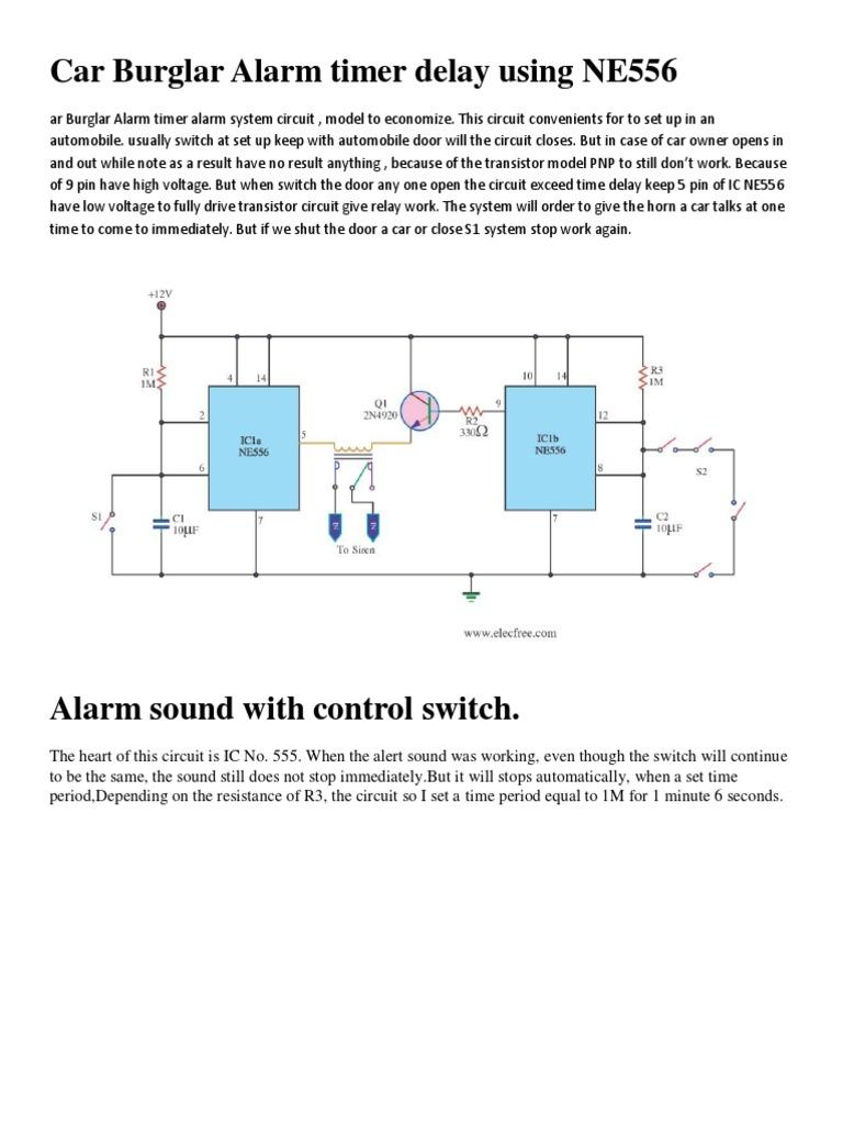 Download Car Burglar Alarm Timer Delay Using Ne556 556 Circuit
