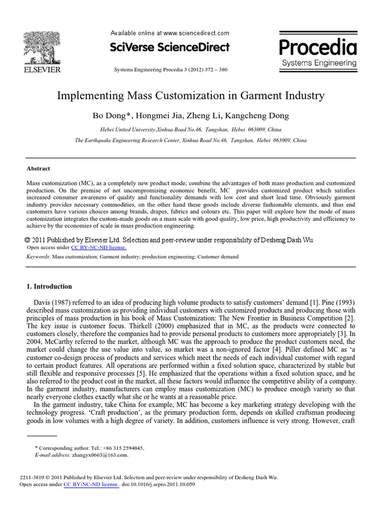"""a definition of mass customization in different manufacturing industries This is """"operations management in manufacturing and service industries"""" (high volumes of goods are made and held in inventory for later sale), and mass."""