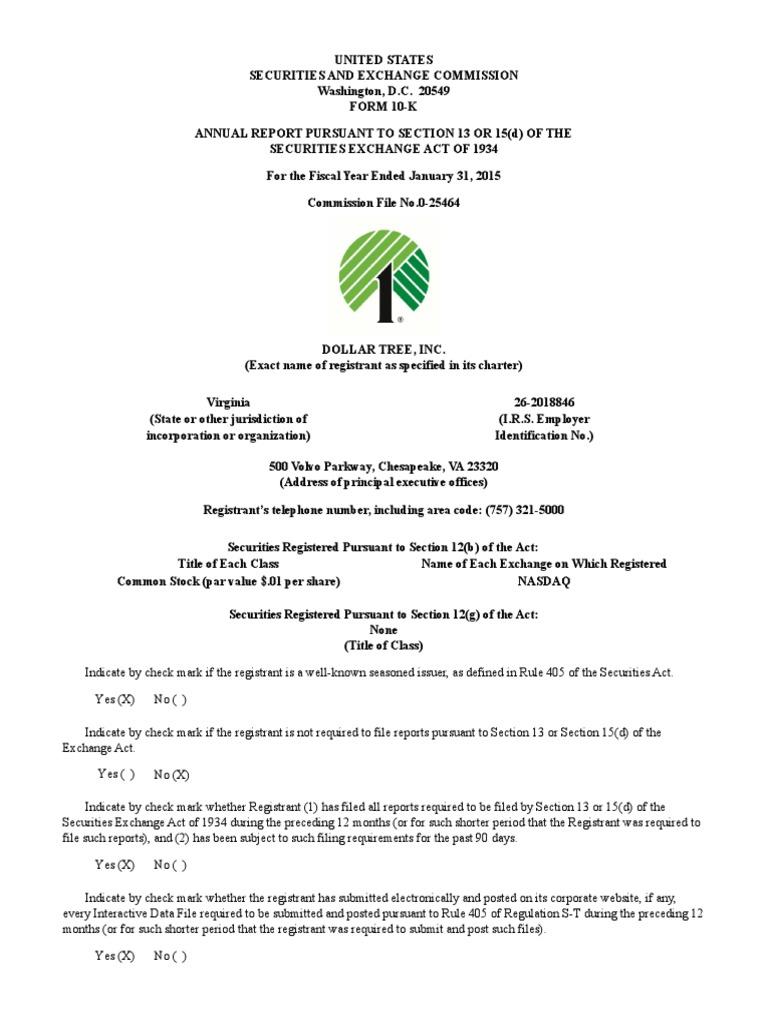 Download Dollar Tree 2015 Form 10K - DocShare.tips