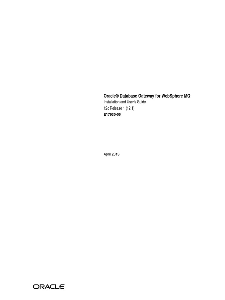 Download Oracle® Database Gateway for WebSphere MQ