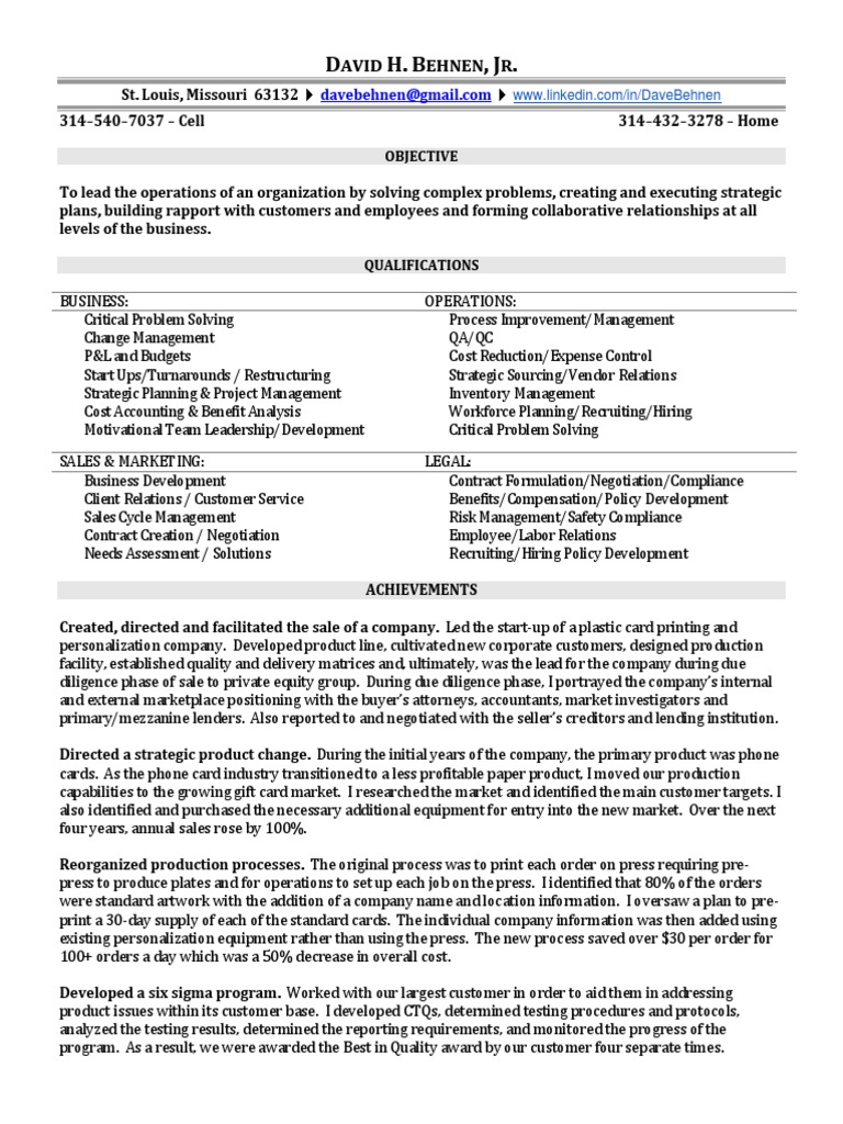 Download COO VP Operations in St Louis MO Resume David Behnen ...