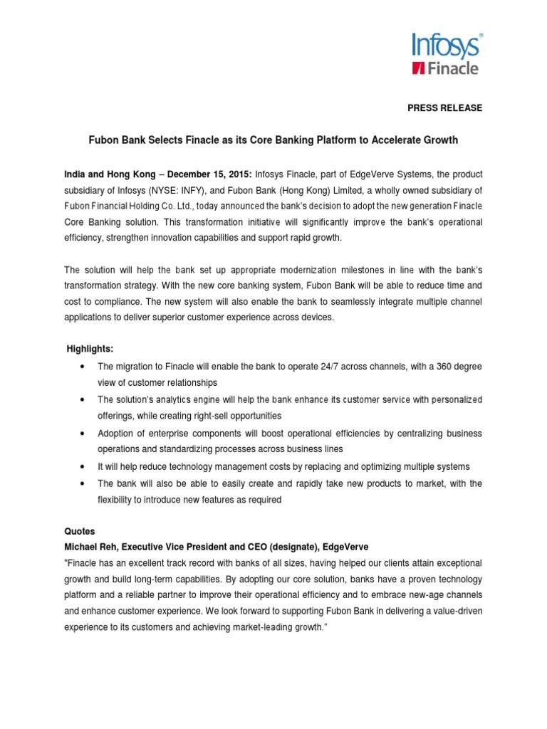 Fubon Bank Selects Finacle as its Core Banking Platform to