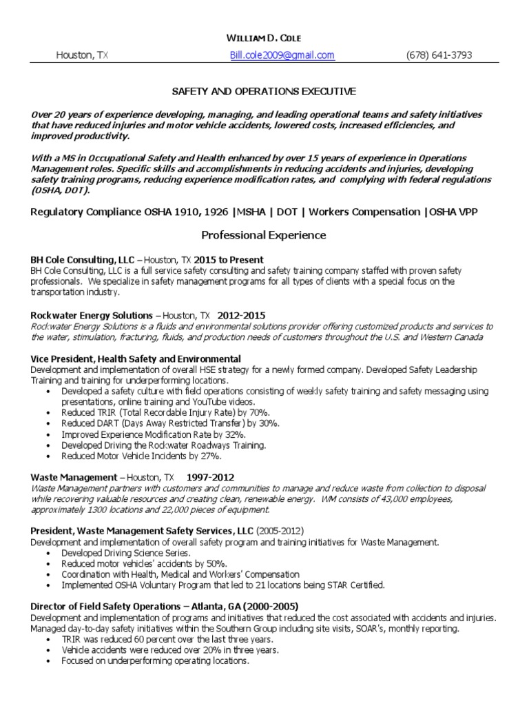 Download HSE Safety Coordinator EHS In Houston TX Resume Charles ...