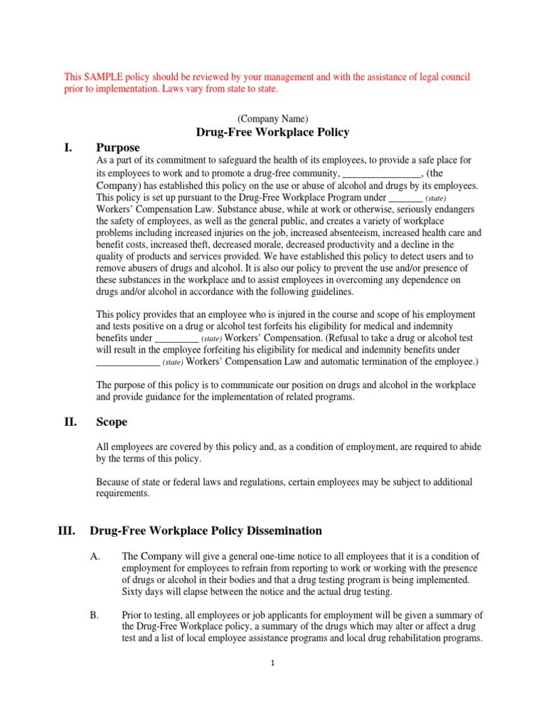 drug free workplace sample policy