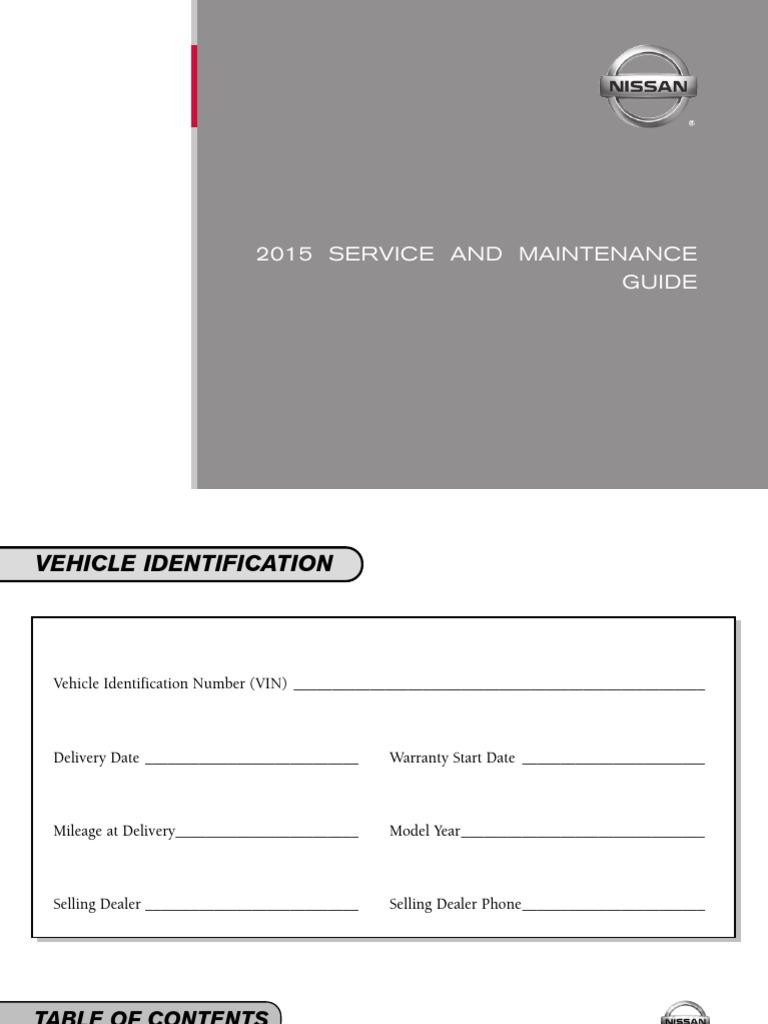 Wonderful 2015 Nissan Service Maintenance Guide
