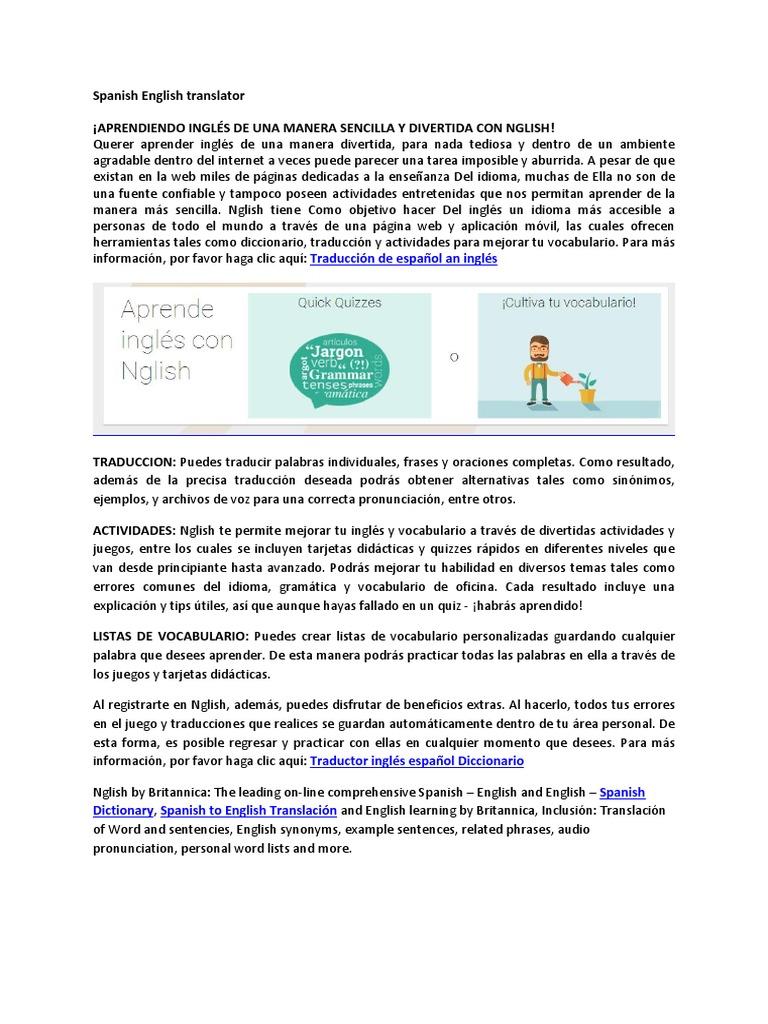Download English - Spanish Translator - DocShare tips
