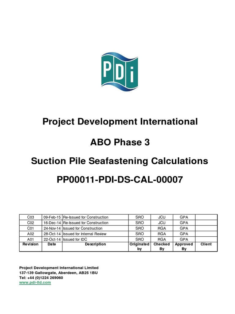 Typical Suction Pile Seafastening Calculation Sheet Docshare