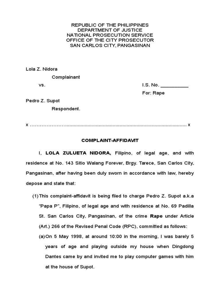 Rape complaint sample docshare altavistaventures Images