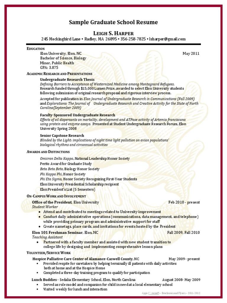 sle graduate school resume docshare tips