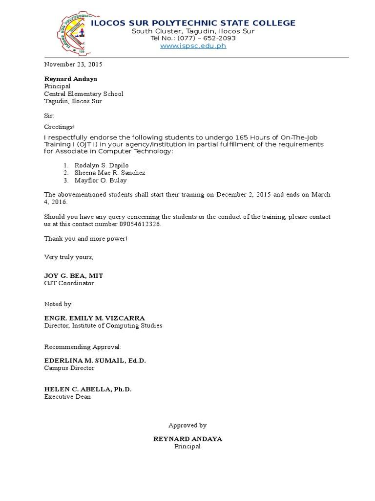 endorsement letter for ojt