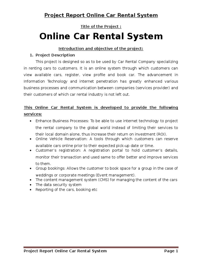 Online Car Rental System Project Report on PHP - DocShare tips