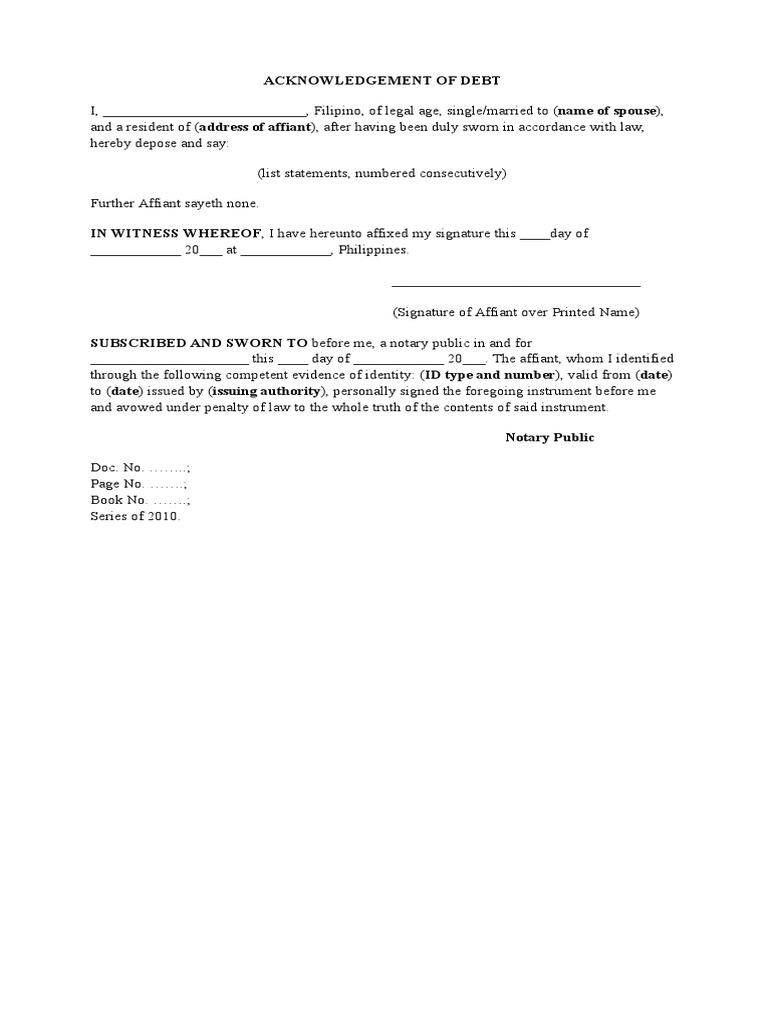 Download acknowledgement of debt sample docshare download acknowledgement of debt sample maxwellsz