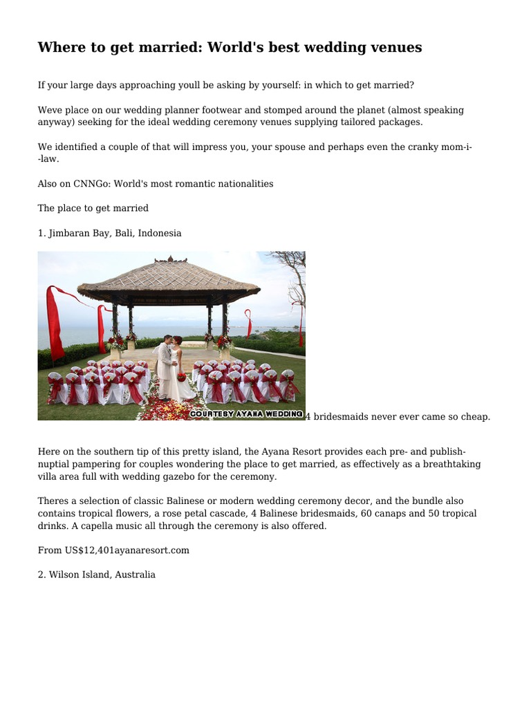 Download Where to get married: World\'s best wedding venues ...