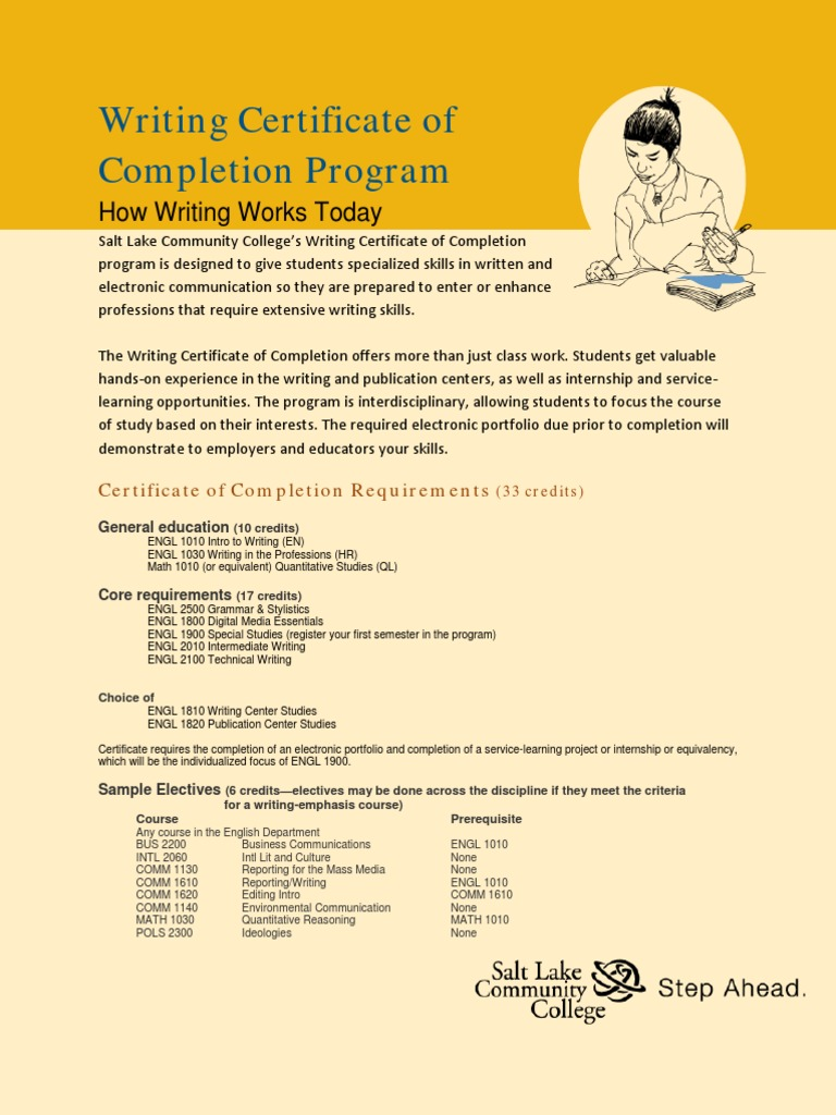 Accounting Clerk, Certificate of Completion