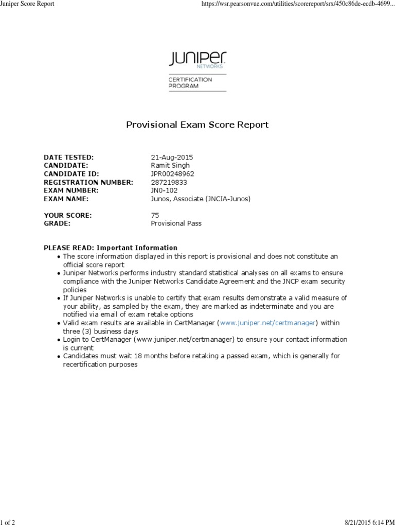Juniper Score Report Docshare