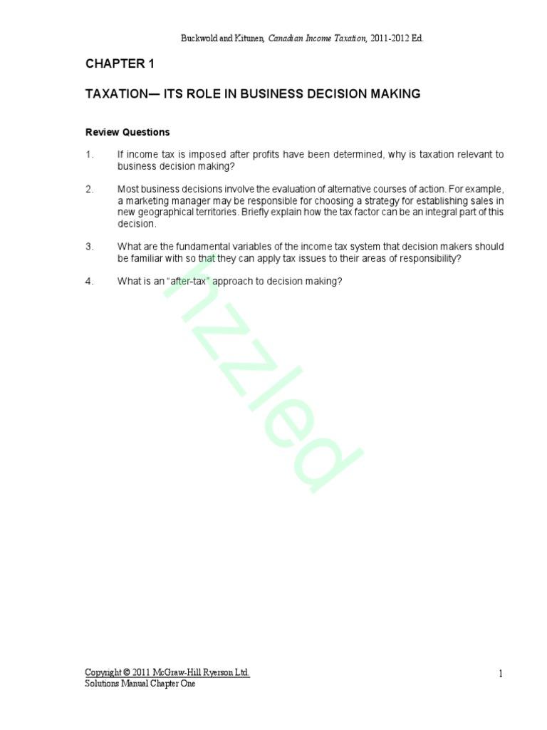 canadian income taxation solution manuel docshare tips rh docshare tips Individual  Taxation 2015 Tax Revenue
