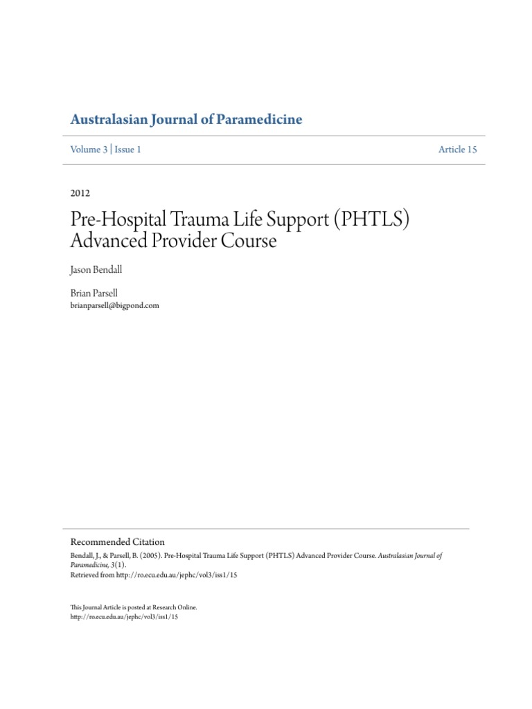 Pre-Hospital Trauma Life Support (PHTLS) Advanced Provider Course