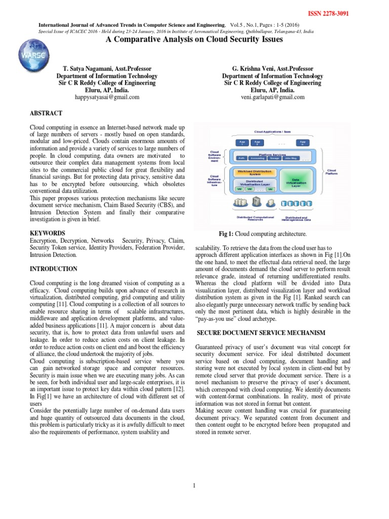 Download A Study On Data Security Issues In Public Cloud Comparative Analysis
