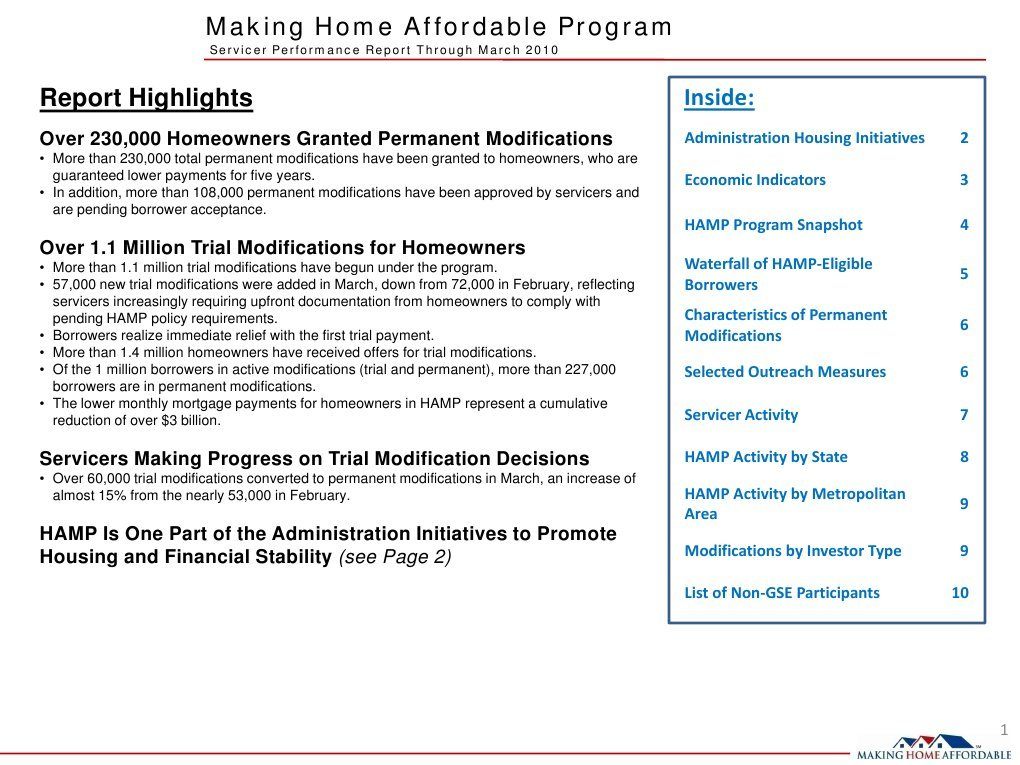 Making Home Affordable Program Servicer Performance Report