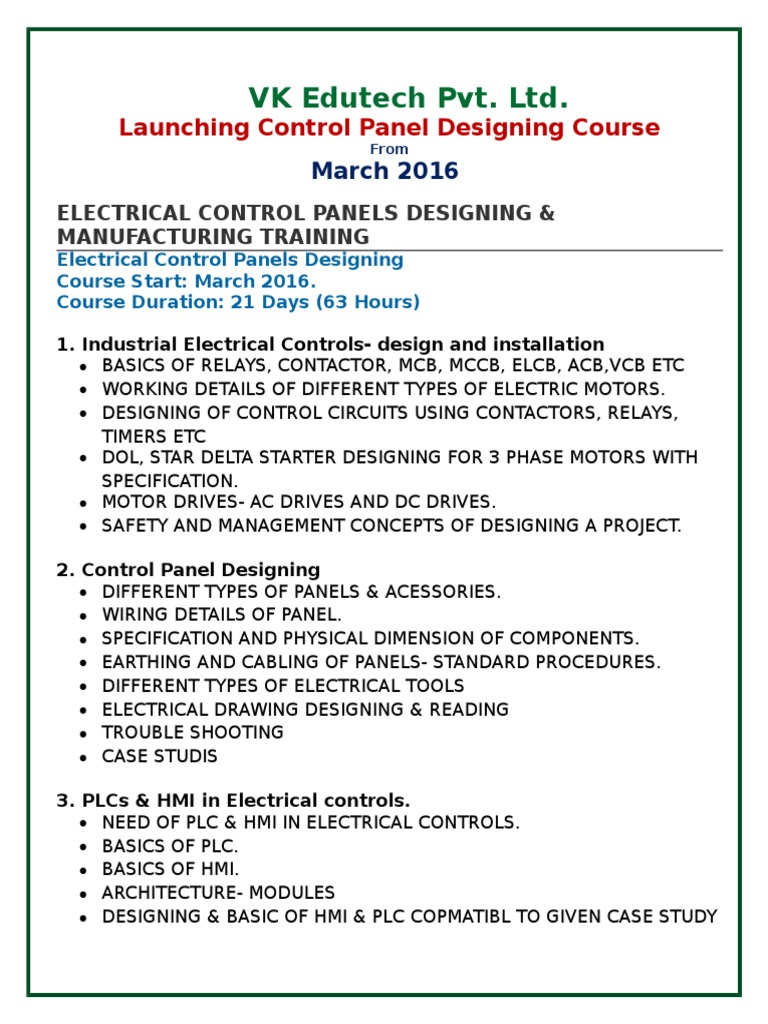 Download Designing A Course Syllabus In Esp Of Electrical Panels Understanding The Relationship Star Delta Control Panel