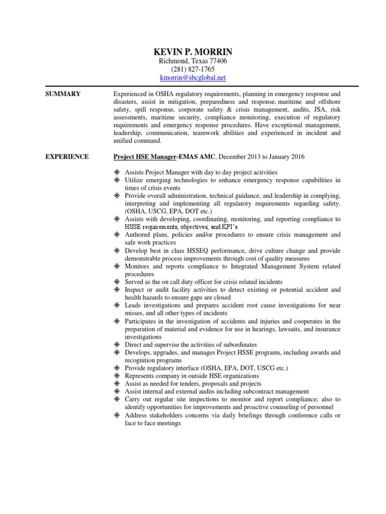 Download Health Safety Environmental Manager in Houston TX Resume ...
