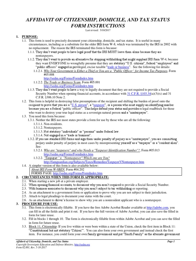 Affidavit of Citizenship, Domicile, and Tax Status, Form #02 001