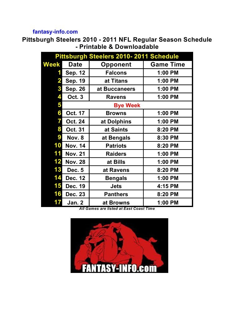 photograph regarding Printable Steelers Schedule known as Obtain Pittsburgh Steelers 2010 - 2011 Plan