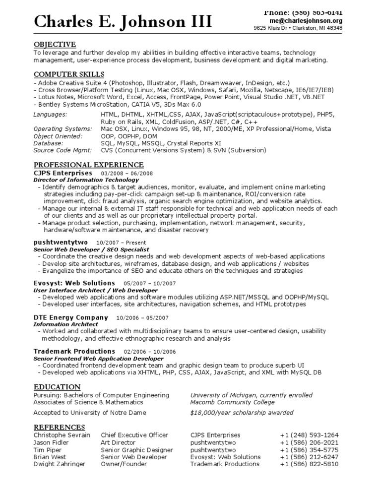 Download Charles Calvey Resume - DocShare.tips