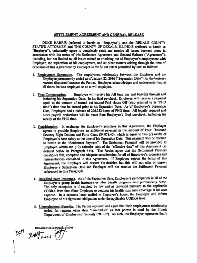settlement agreement and general release