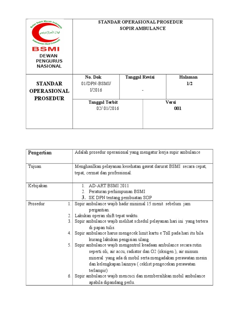10 sop driver ambulance docshare tips sop driver ambulance docshare tips