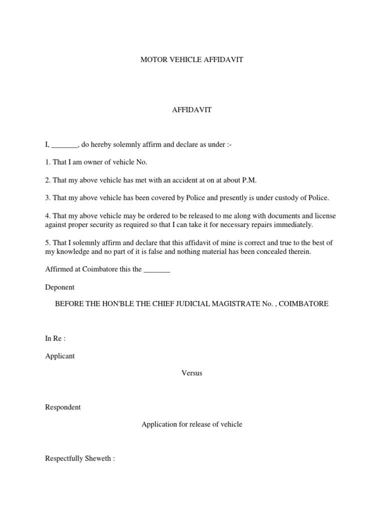 Affidavit of undertaking to produce motor vehicle docshare spiritdancerdesigns Choice Image