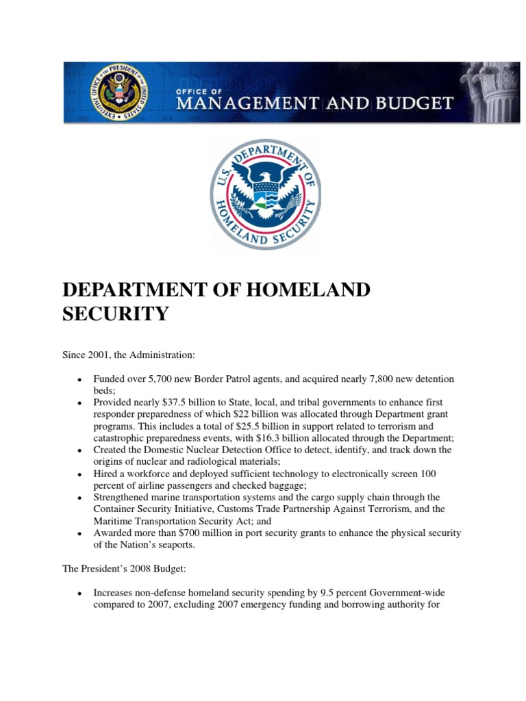 position paper department of homeland security A homeland security model for assessing us a cabinet level department of homeland security this paper is to propose a method to narrow the focus of.