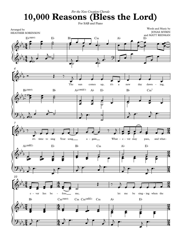 10000 reasons guitar chords pdf