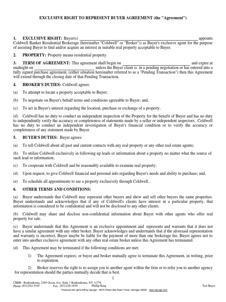 Exclusive Right to Represent Buyer Agreement - DocShare.tips