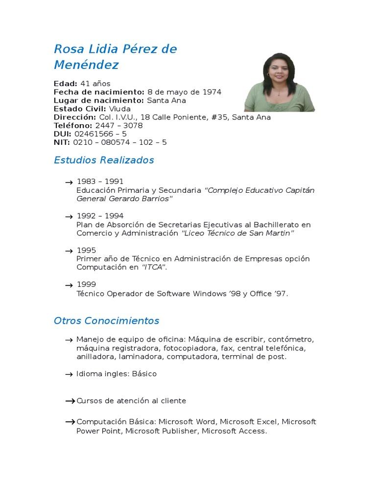 Curriculum Rosa Lidia Pérez de Menéndez - DocShare.tips