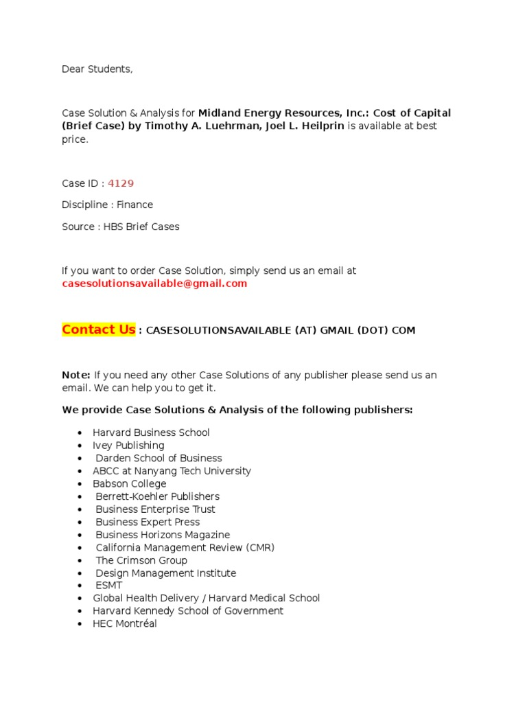 Case Solution for Midland Energy Resources, Inc. Cost of Capital (Brief  Case)