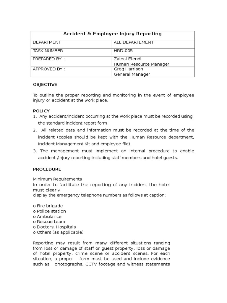 incident report free