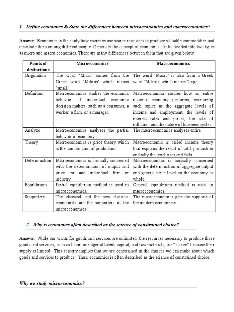 understanding the difference between microeconomics and macroeconomics Difference between micro and macroeconomics microeconomics tries to give understanding to documents similar to differences between micro and macroeconomics.