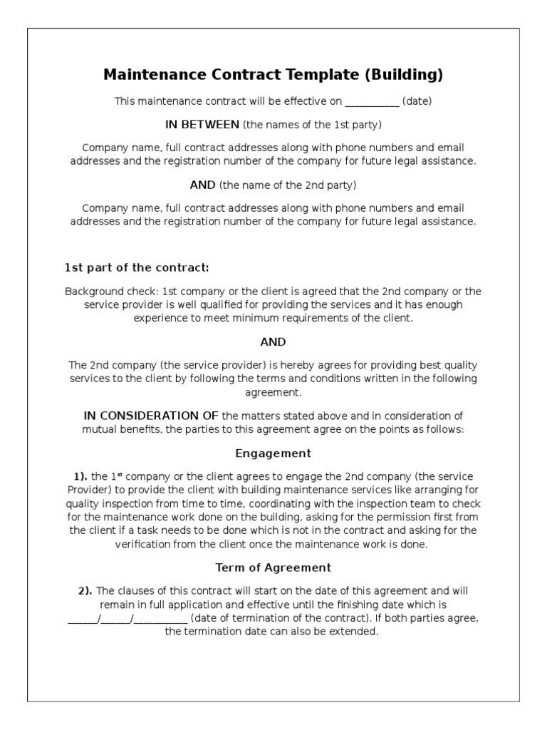 Maintenance Agreement Template