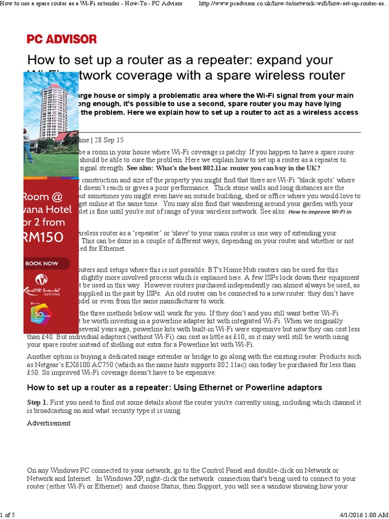 How To Use A Spare Router As A Wifi Extender Howto Pc Advisor Download  Spare Parts